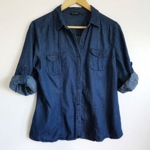George Chambray denim shirt roll up sleeves